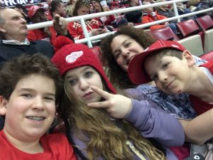 Me and my wonderful children at last Monday night's Red Wings game