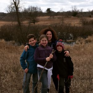 Me with my kiddos - Dan was there too - celebrating Sabbath quiet and Passover freedom by a walk in nature