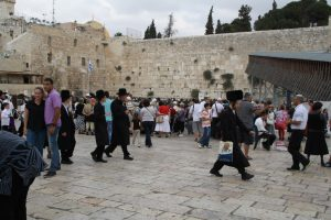 a cross-section of people at the Western Wall, Jerusalem (photo by Lynne Golodner)