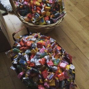 baskets of candy for throwing after Asher completes his Torah reading