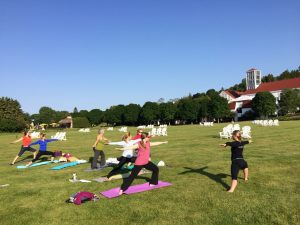 yoga this morning on the lawn beside Lake Huron