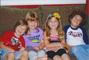 My four children in our old house.