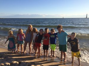 An impromptu cousins picture (all but one present) on the beach of Lake Michigan at Frankfort.