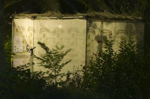 a sukkah is a temporary shelter that Jews reside in, or celebrate in, for the holiday of Sukkot - fragile, trusting that God is taking care of us, able to see the stars