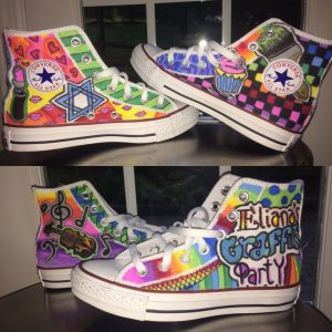 The personalized Converse high tops my daughter will wear at her bat mitzvah party this weekend.
