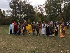 Shaya and his friends at the Detroit Waldorf School Halloween parade - he's the big bright sun.