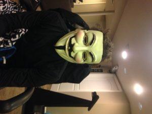 Asher in his V for Vendetta mask