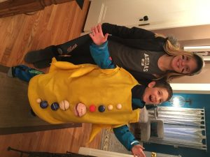 Grace as baseball player and Shaya as the solar system