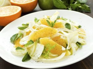 Fresh salad with fennel, orange and mint. Shallow dof.