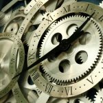 Rotating clock, close-up